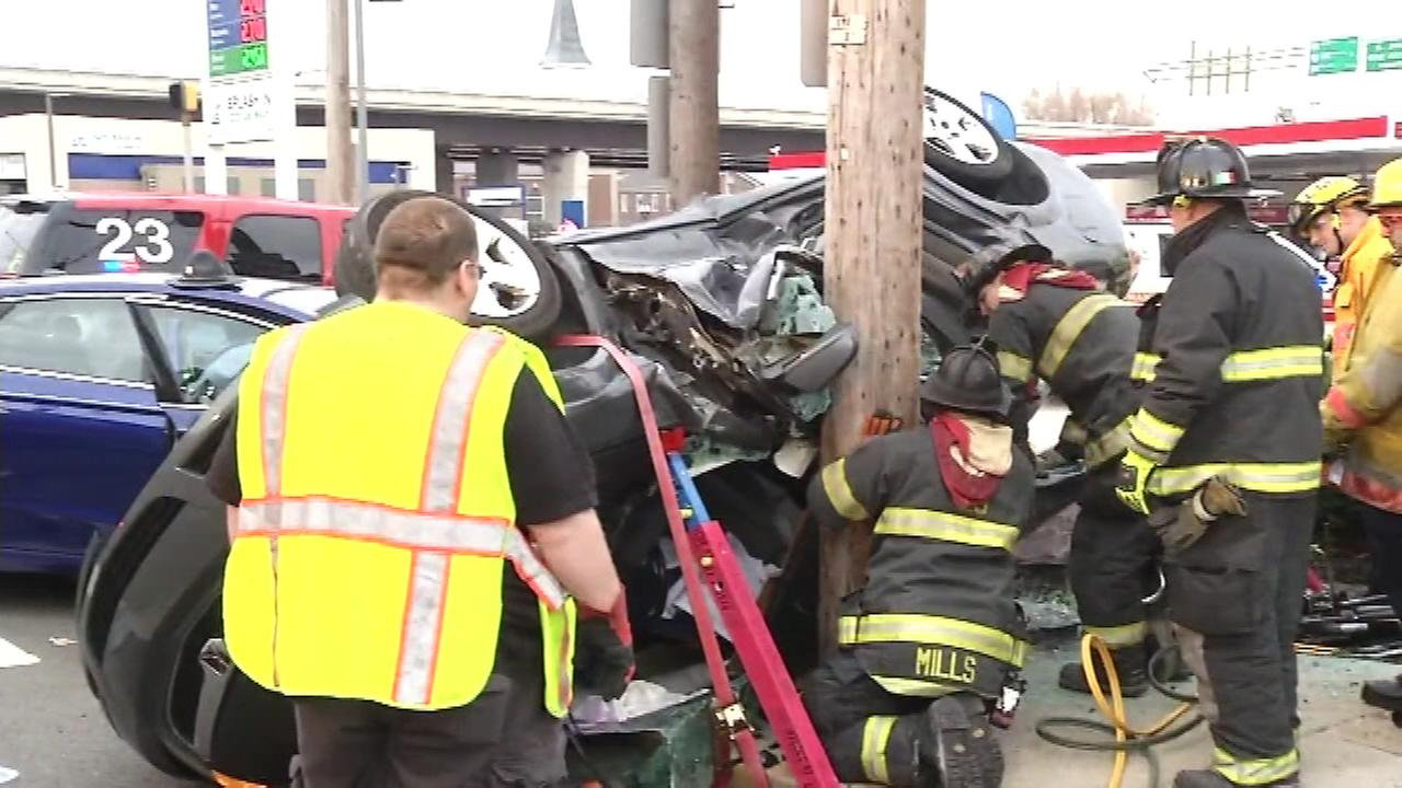 A woman was seriously injured in a two-car collision in Newport, Delaware.