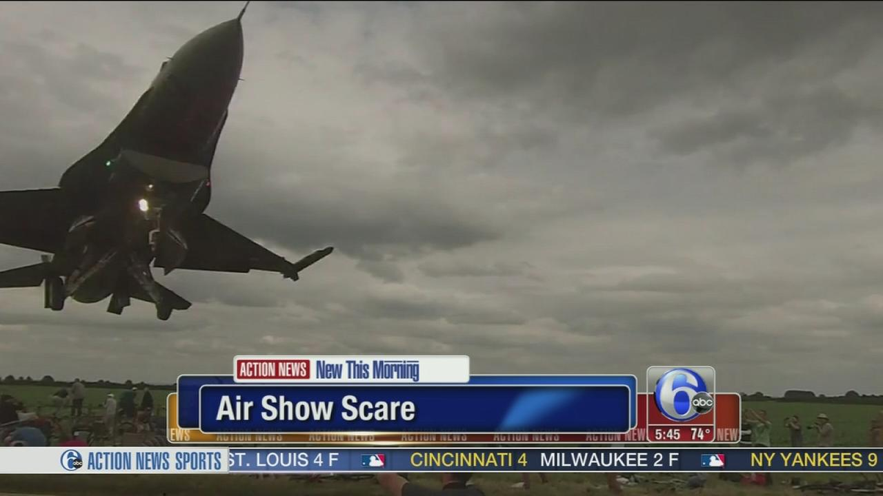 Fighter jet buzzes crowd at air show