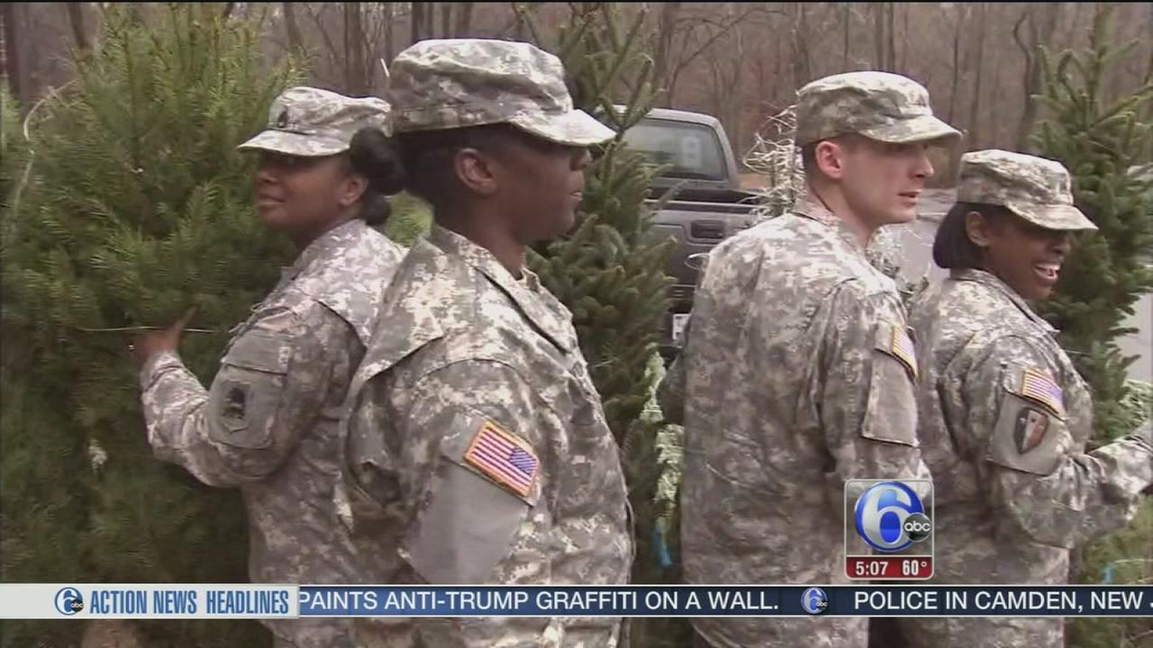 VIDEO: Military families pick up Christmas trees