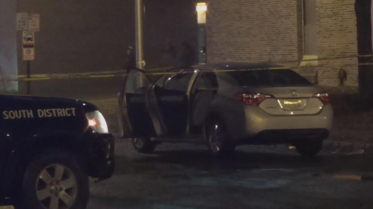 Pictured: The scene after a Lyft rider was shot and killed in Trenton, New Jersey on Wednesday night.