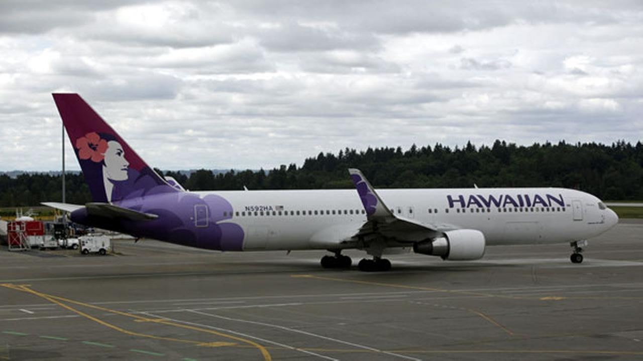 FILE - A Hawaiian Airlines plane is shown Monday, June 7, 2010, at Seattle-Tacoma International Airport in Seattle.