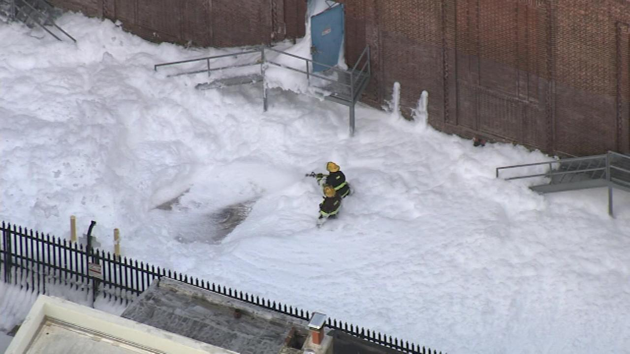 Pictured: Chopper 6 over a foam spill and hazmat situation in Center City.