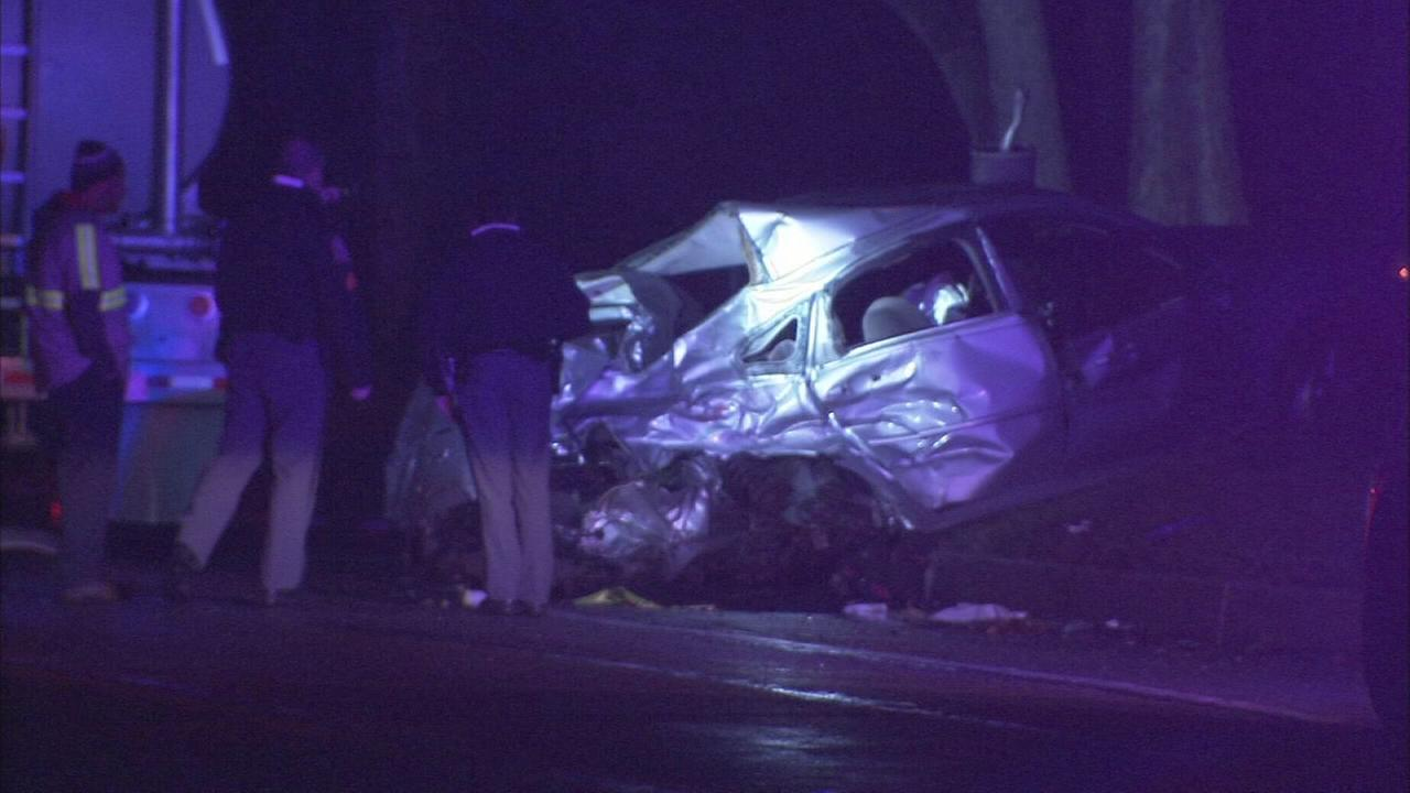 VIDEO: Truck slams into car, sending it into a pole in Upper Merion