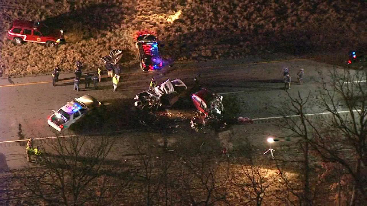 Chopper 6 over a crash in Millville, New Jersey involving a state police vehicle.