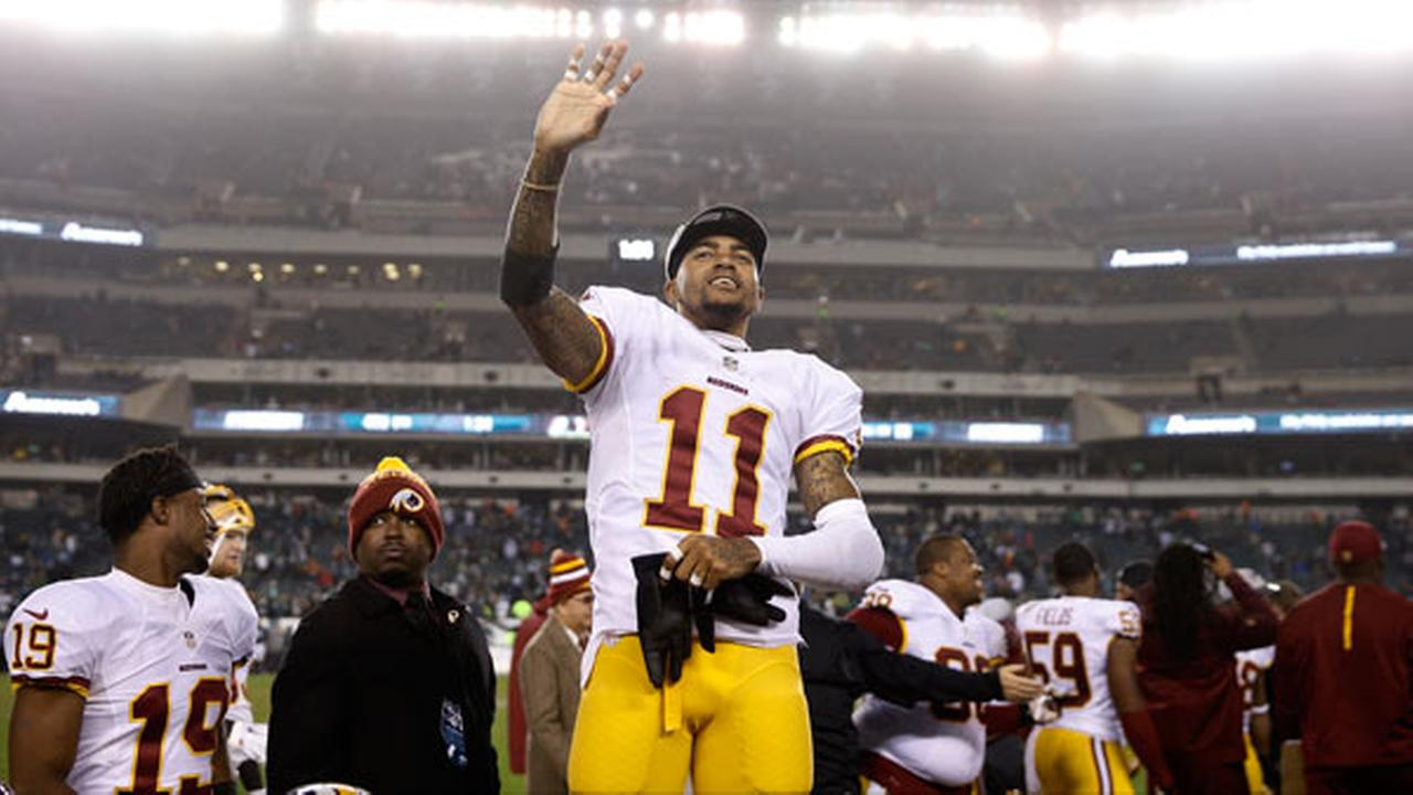 Washington Redskins DeSean Jackson waves to the stands during the second half of an NFL football game against the Philadelphia Eagles, Saturday, Dec. 26, 2015, in Philadelphia.