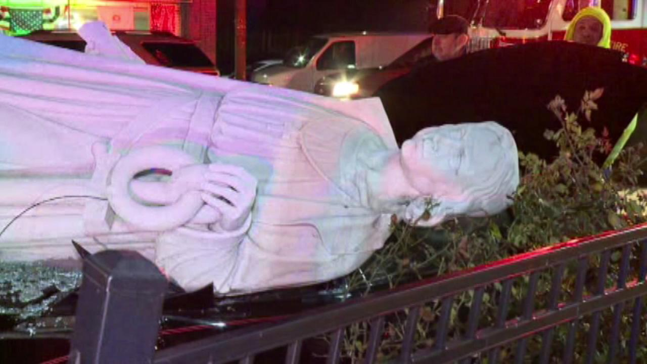 December 8, 2016 - The toppling of a giant marble statue drew a crowd in a northeast Pennsylvania town.