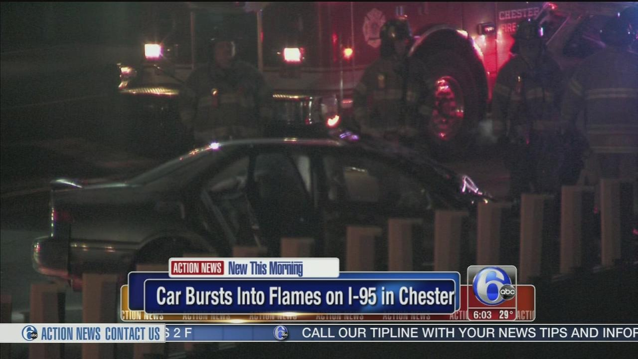 VIDEO: Car bursts into flames on I-95 in Chester