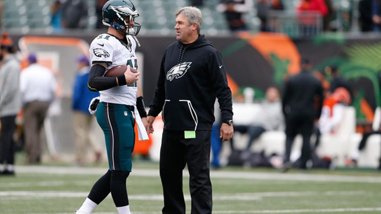 Philadelphia Eagles quarterback Carson Wentz (11) and head coach Doug Pederson, right, meet during practice before an NFL football game against the Cincinnati Bengals.
