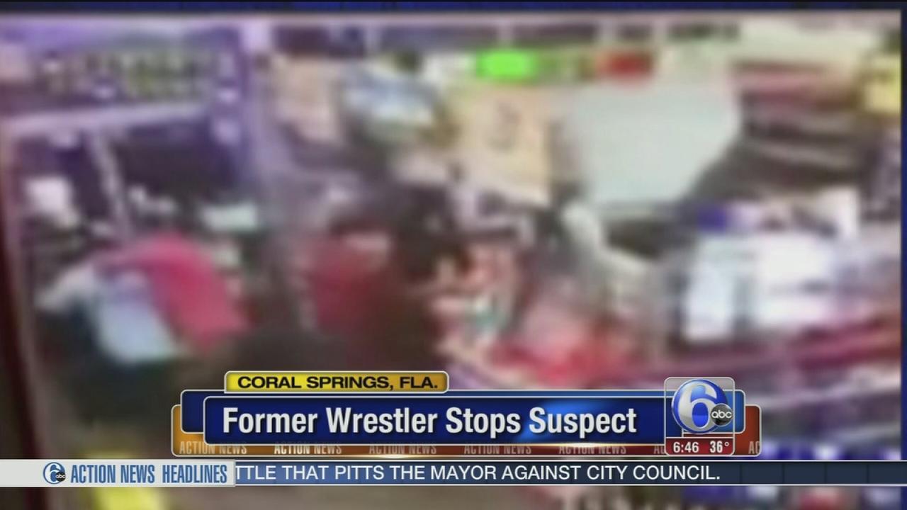 Former wrestler stops suspect