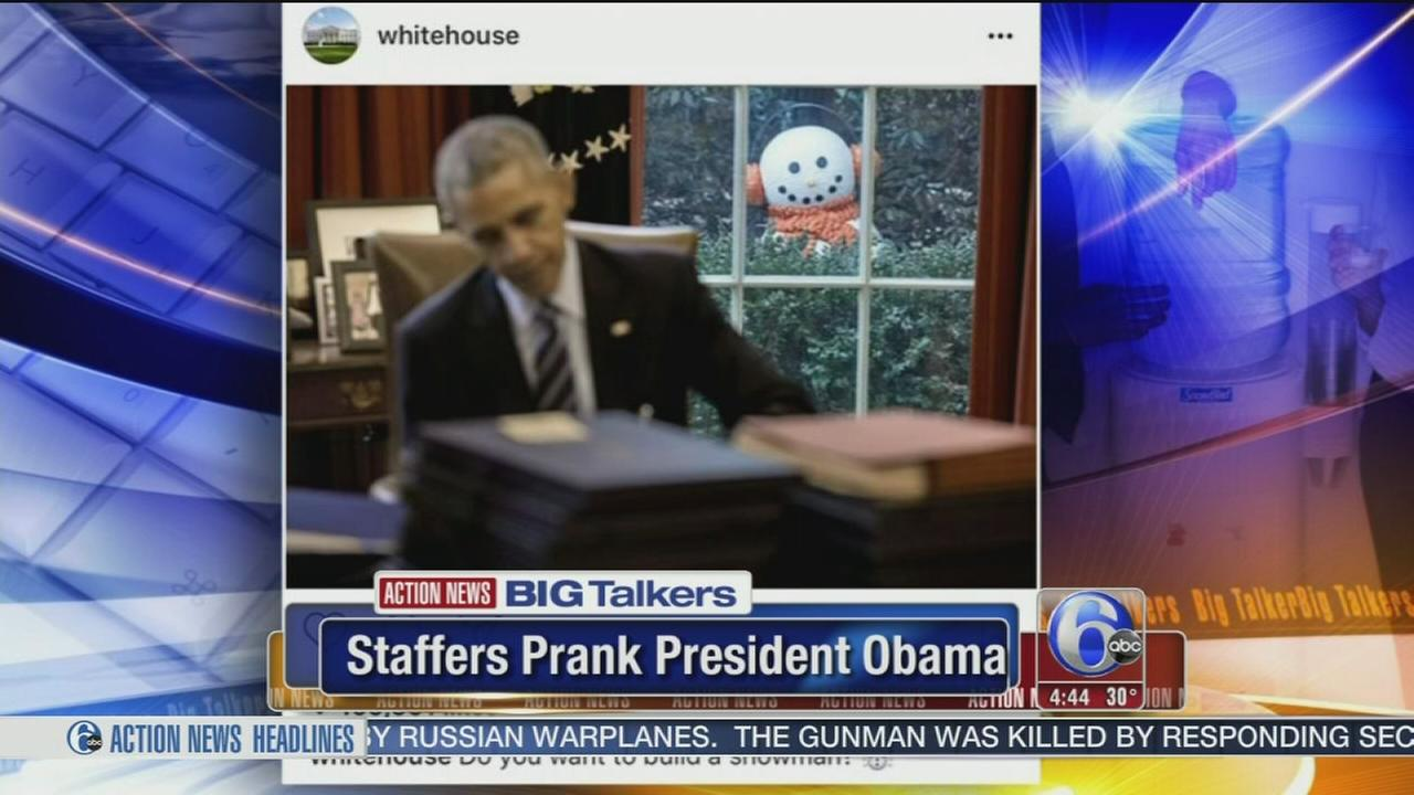 White House staffers prank President Obama with creepy snowman