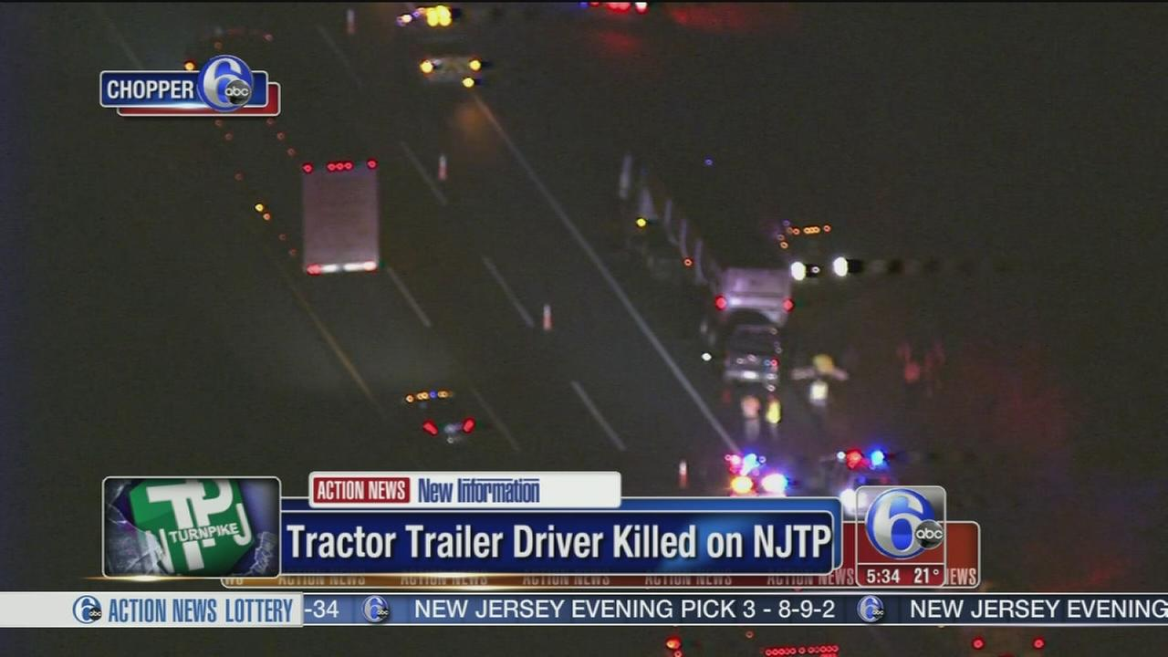 Tractor trailer driver struck, killed by pickup on NJ Turnpike