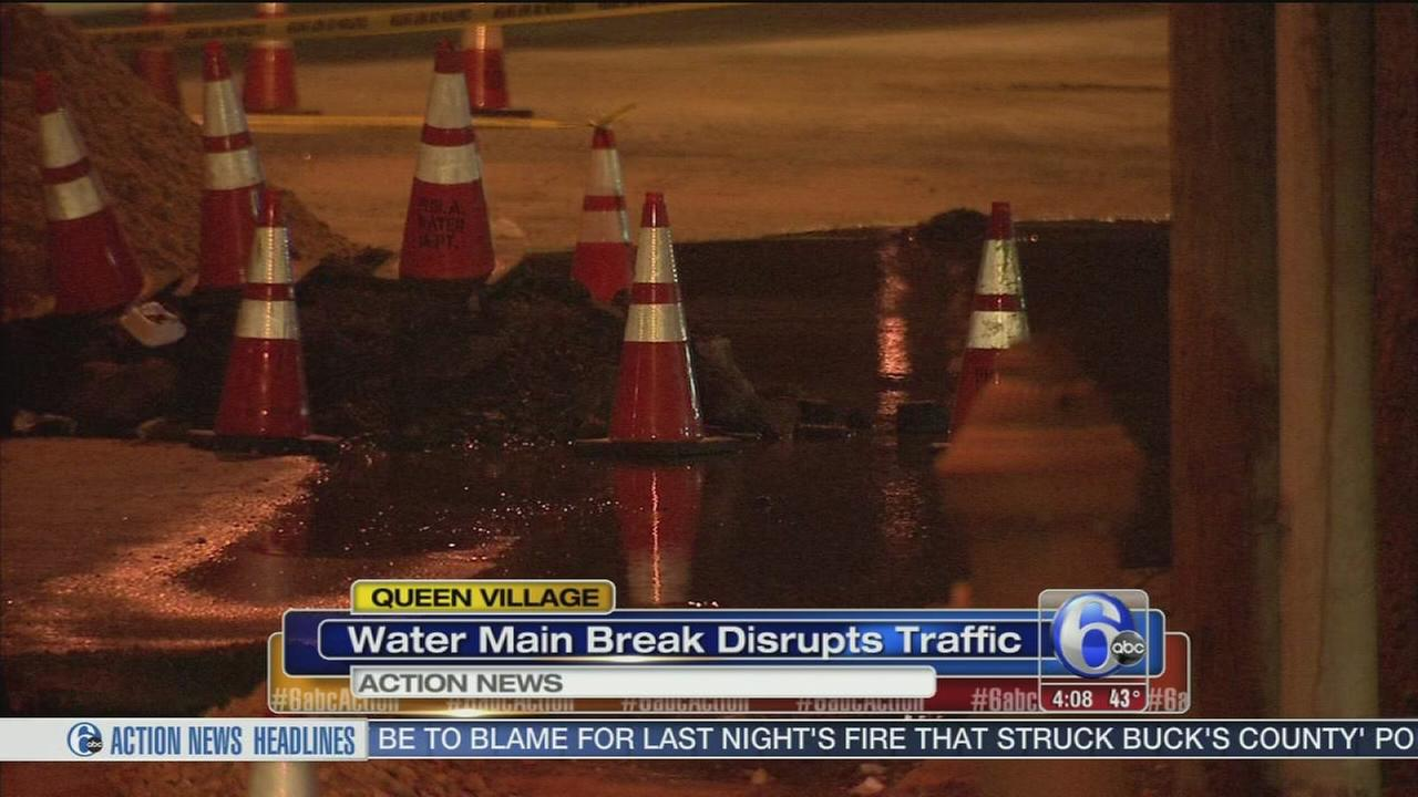 Water main break disrupts Queen Village traffic