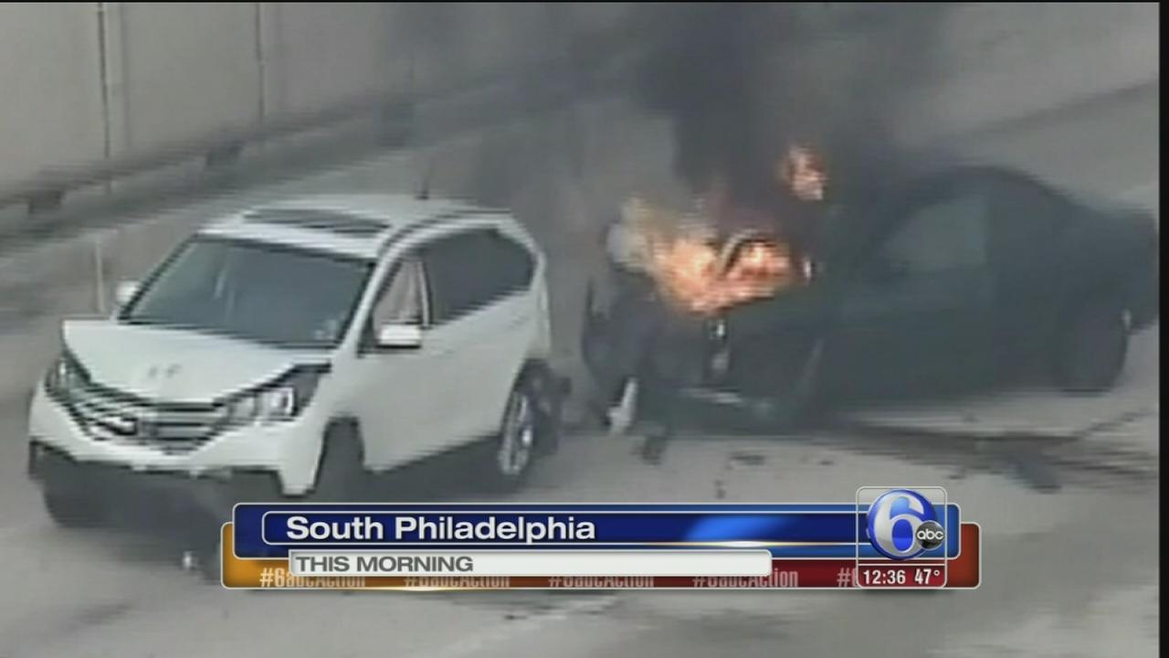 Crash, fire slow traffic on I-95