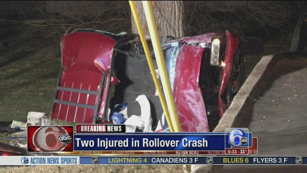 2 hurt in rollover crash in Havertown