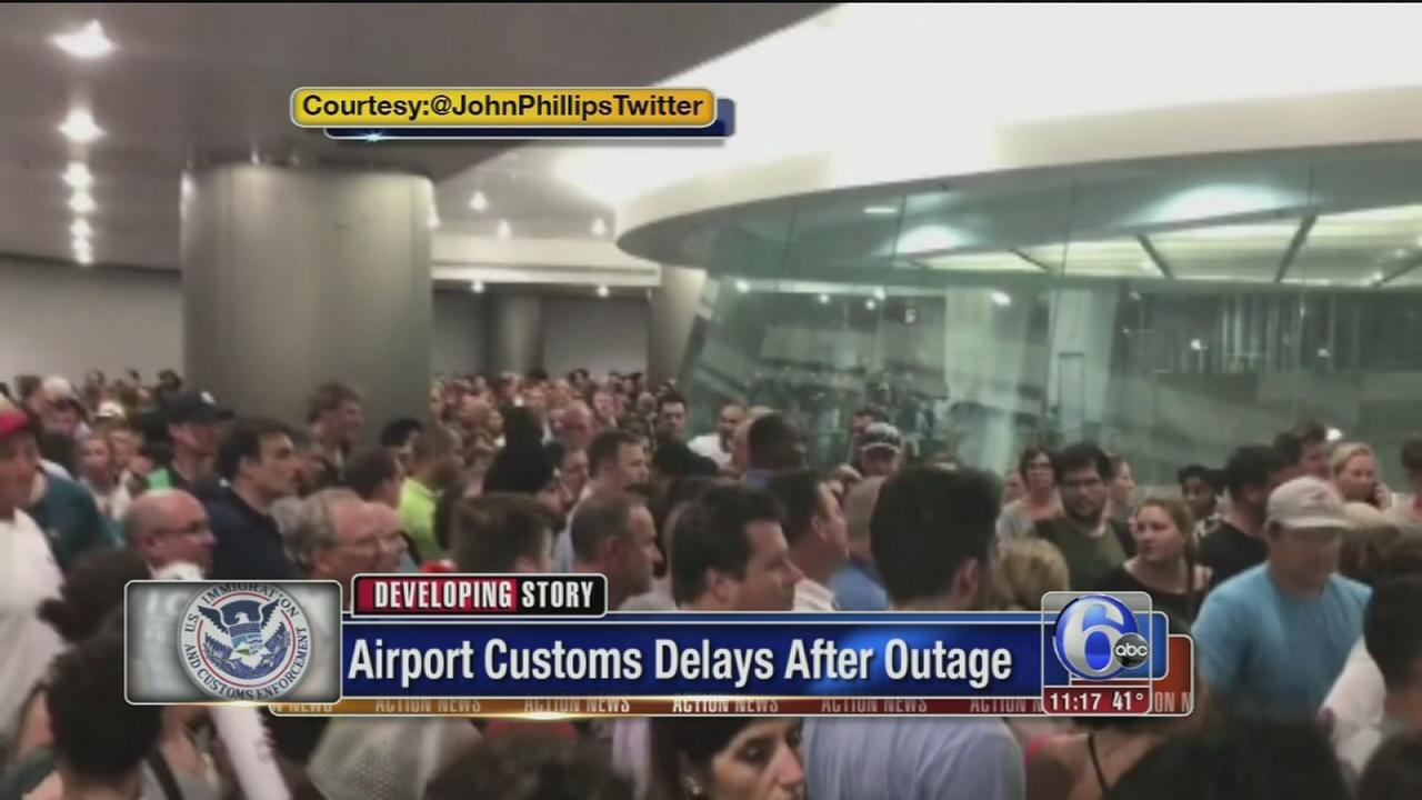 Airport customs delays after outage
