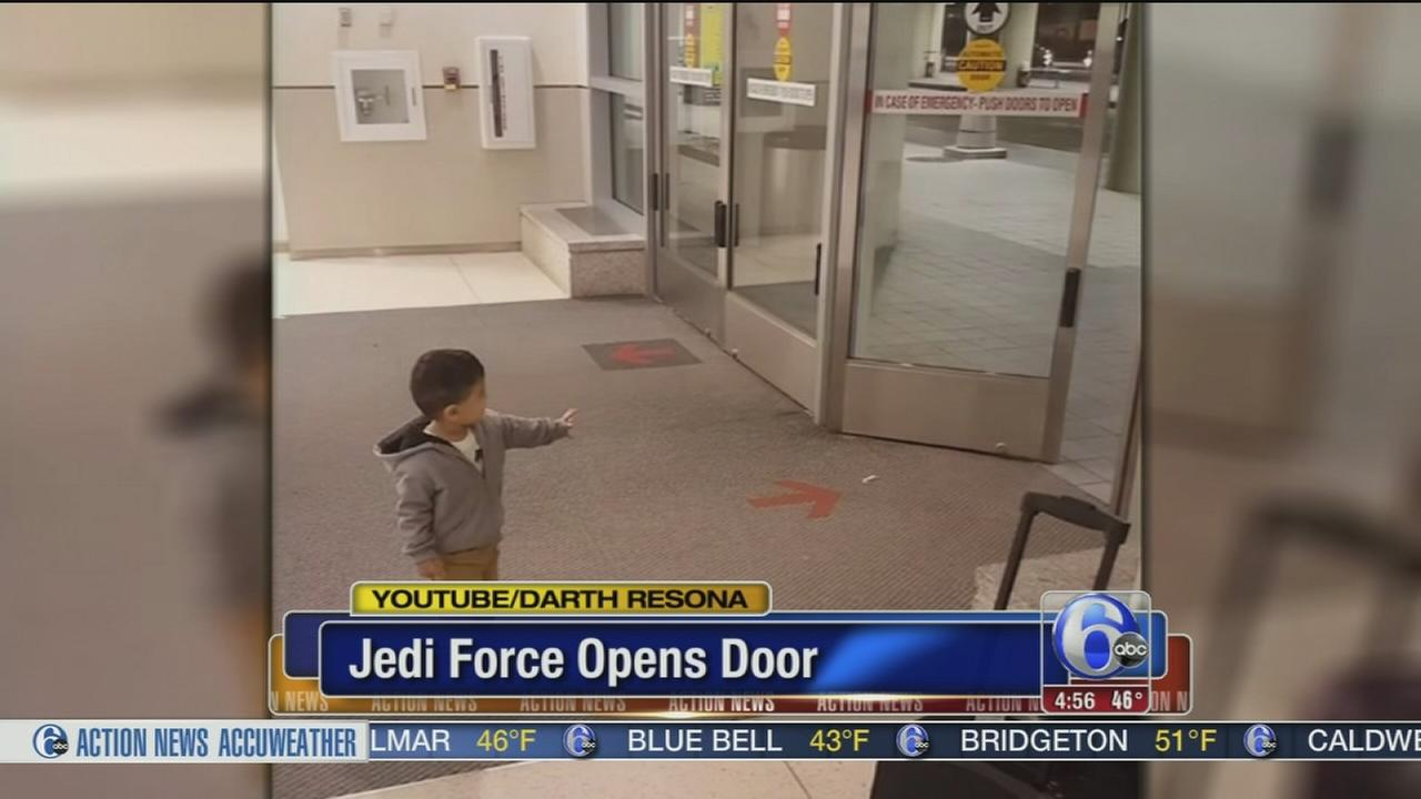 Toddler uses the force to open doors