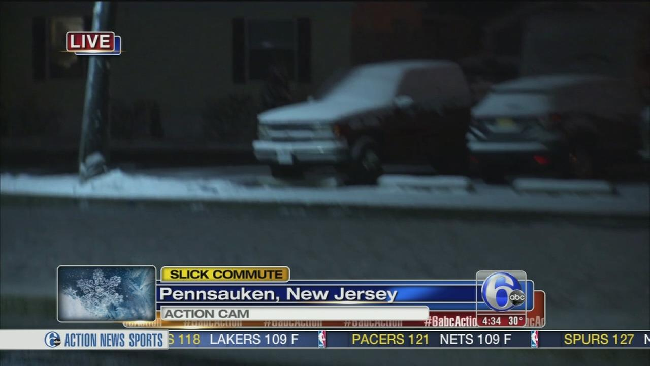 Light snow falls in Pennsauken