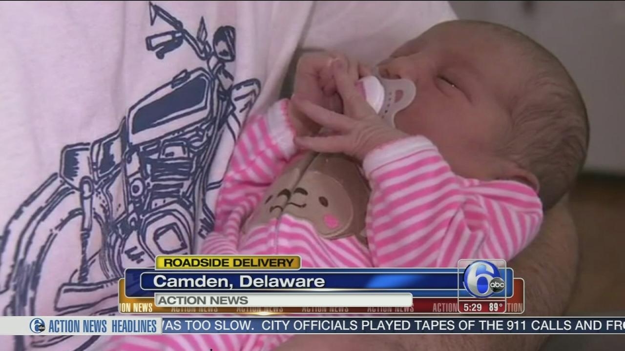 VIDEO: Dad helps delivery baby on Route 1