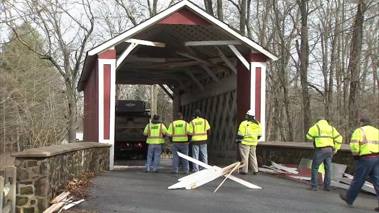 A covered bridge was damaged by a snow plow on Wednesday morning in Hockessin, Delaware.