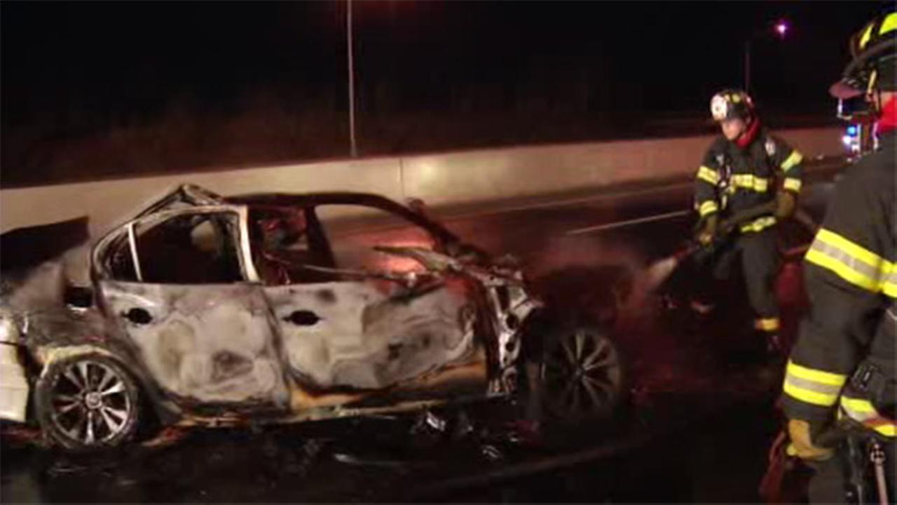 Driver escapes burning car after crash in Newark