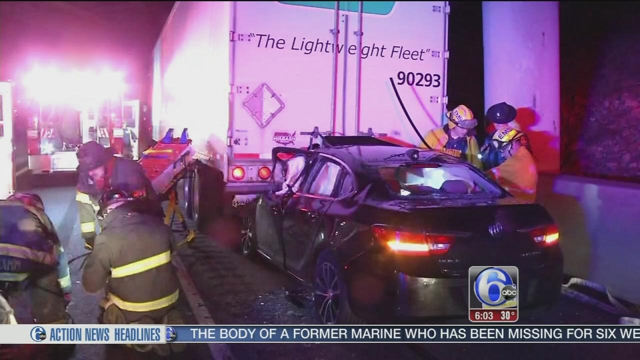 Car slams into tractor-trailer on I-95 in Newark