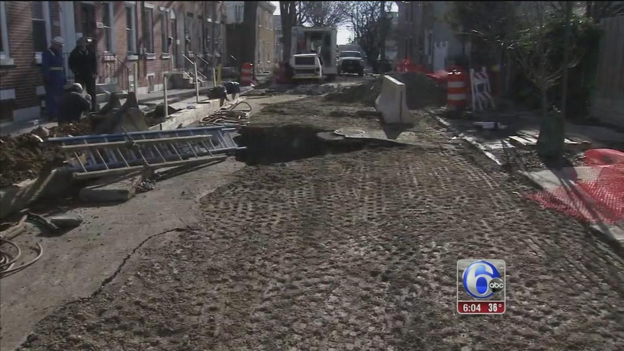 A week later, Kensington sinkhole repair continues