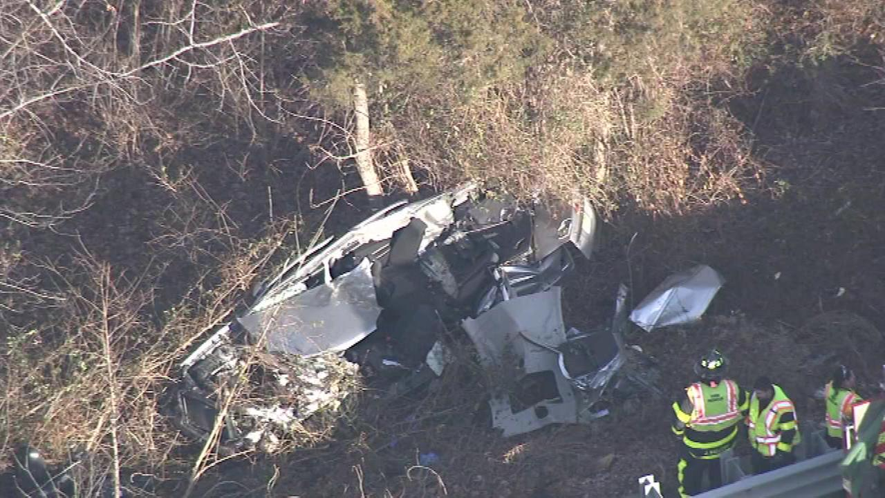 A vehicle was destroyed after the driver crashed into the woods off I-295 in Florence Township, New Jersey.