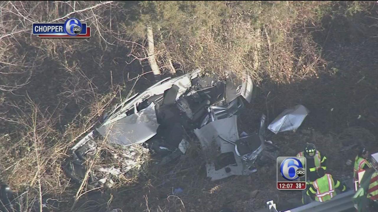 Vehicle destroyed after crash in woods off I-295