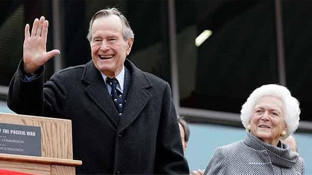 File: Former President George H.W. Bush and former First Lady Barbara Bush