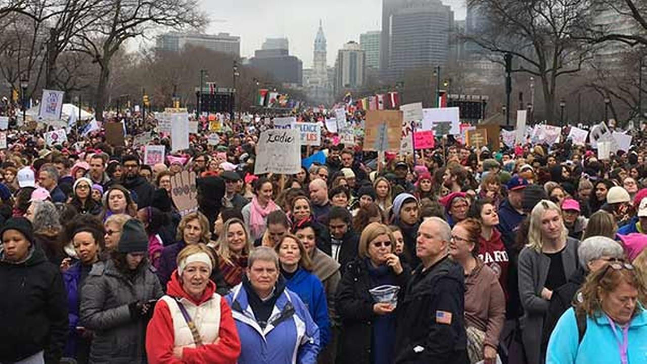 Participants are seen at the Womens March on Philadelphia Saturday, January 21, 2017. (WPVI)