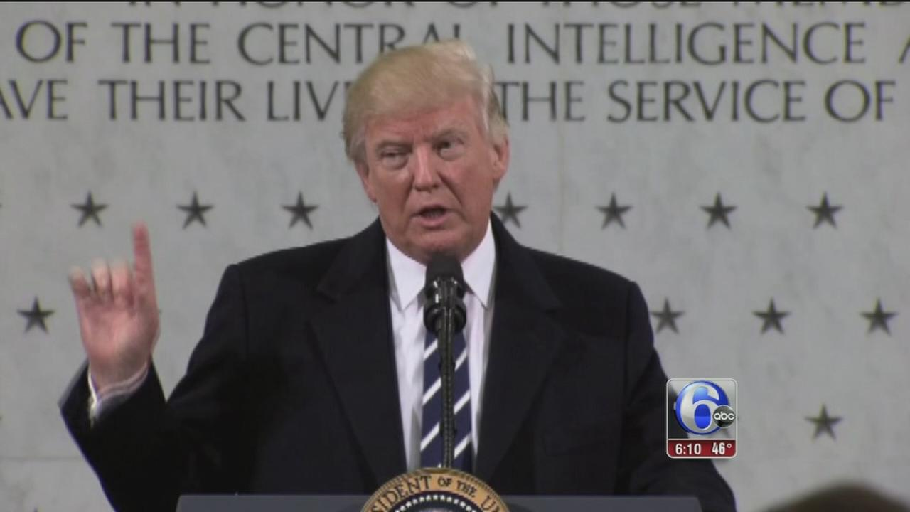 Trump praises the CIA, bristles over inaugural crowd counts