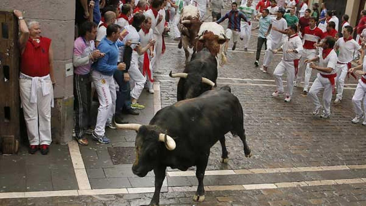 Revelers and Victoriano del Rio Cortes fighting bulls run on Estafeta Street during the running of the bulls at the San Fermin festival, in Pamplona, Spain  July 9, 2014.