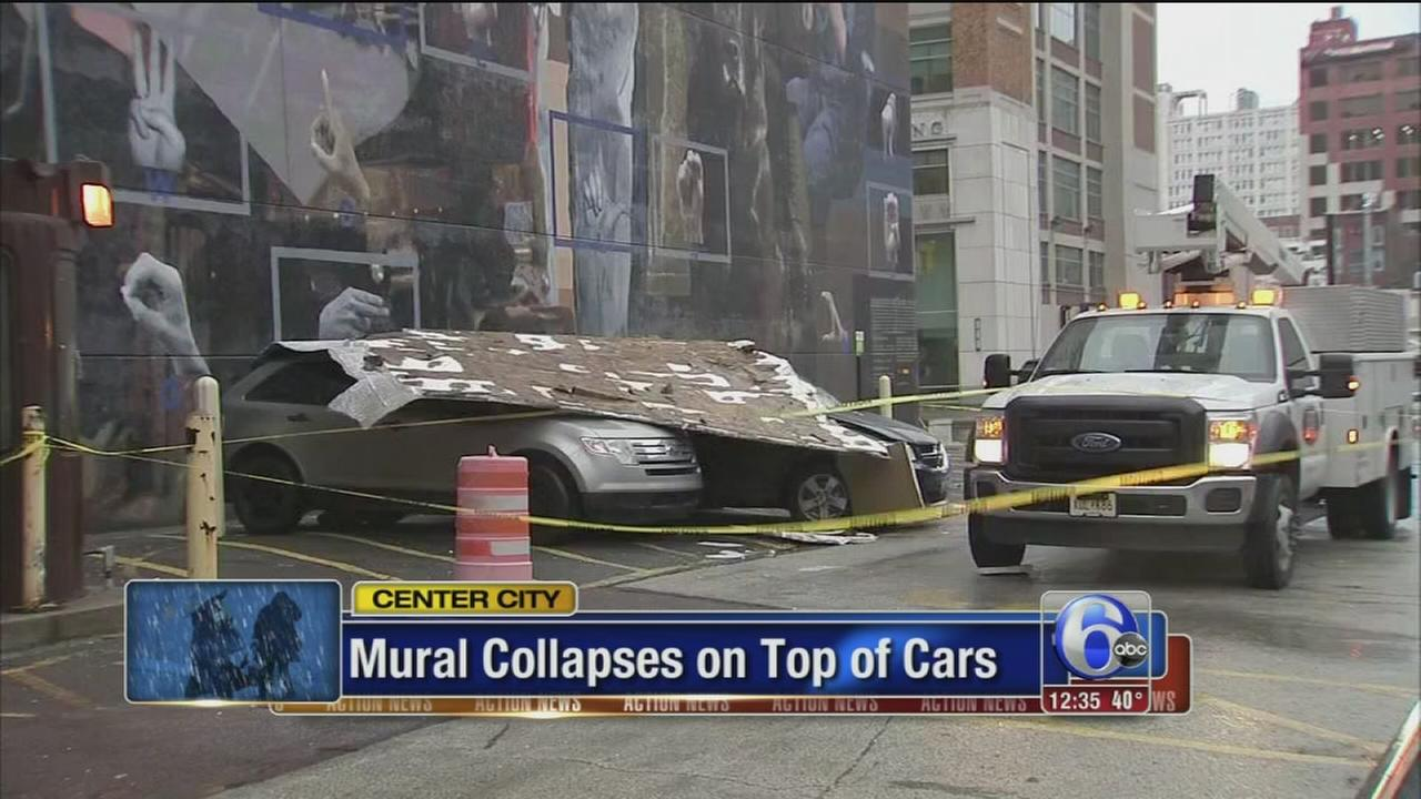 Part of Center City mural falls on parked cars amid high winds