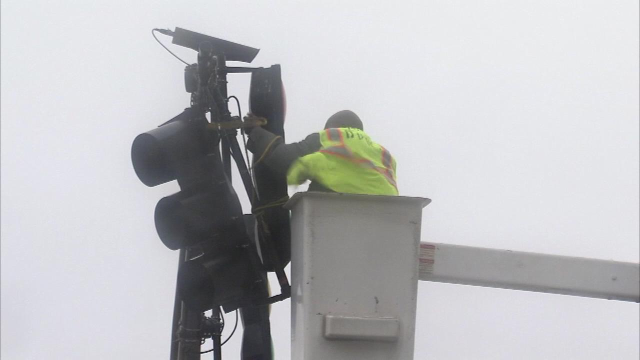 Winds damaged a traffic light on New Hampshire Ave. in Atlantic City on January 23.