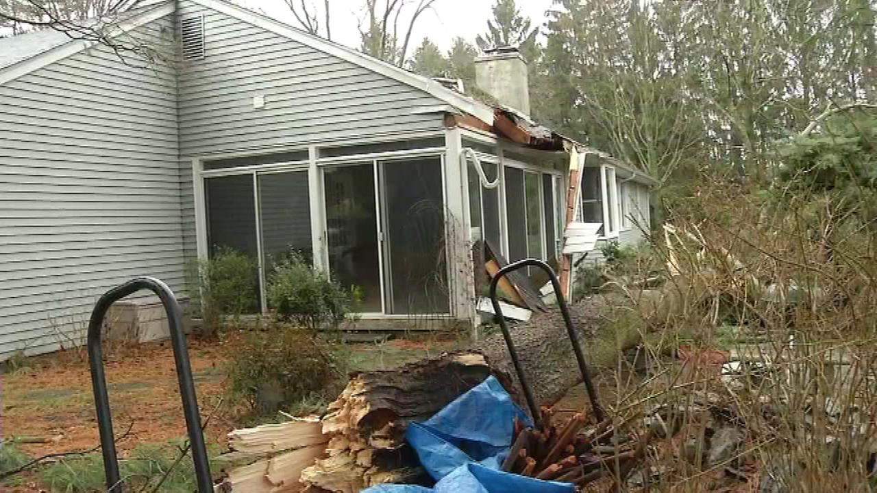 A tree fell on a home along Wayland Drive in Hockessin, Del. on January 23.