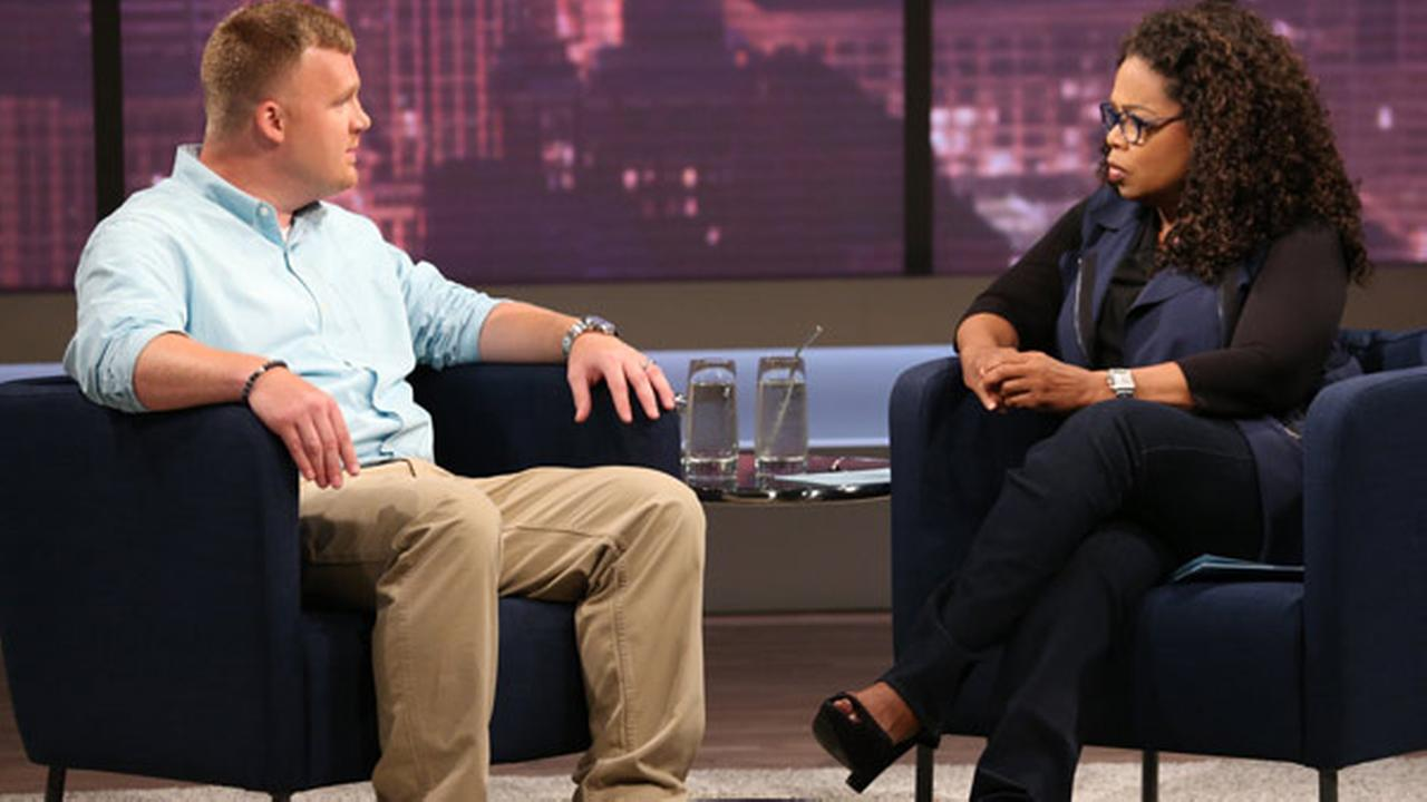 This June 27, 2014 image released by OWN shows Matt Sandusky, the adopted son of Jerry Sandusky, during an interview with Oprah Winfrey.