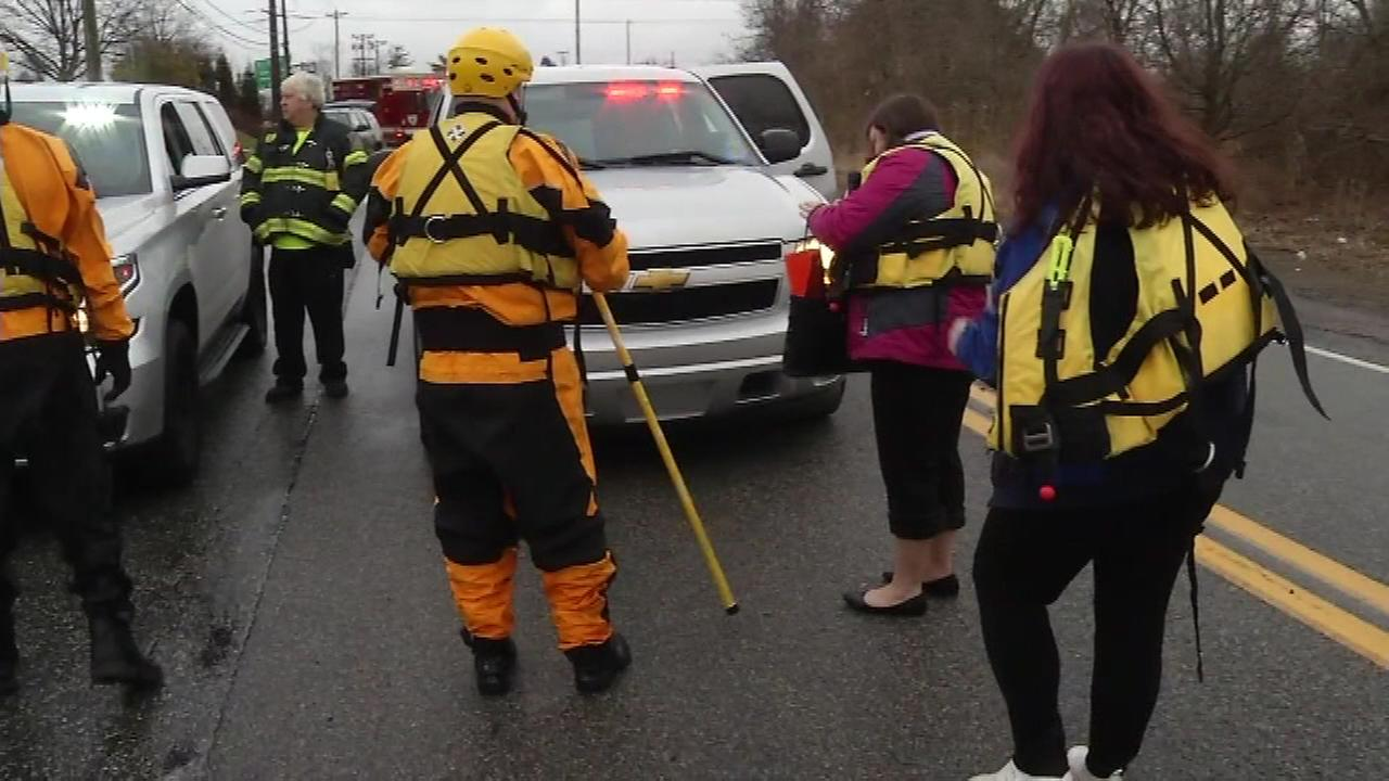 Rescuers helped a driver from a vehicle stuck in high water on the 300 block of Airport Road in New Castle, Del. on Jan. 24.