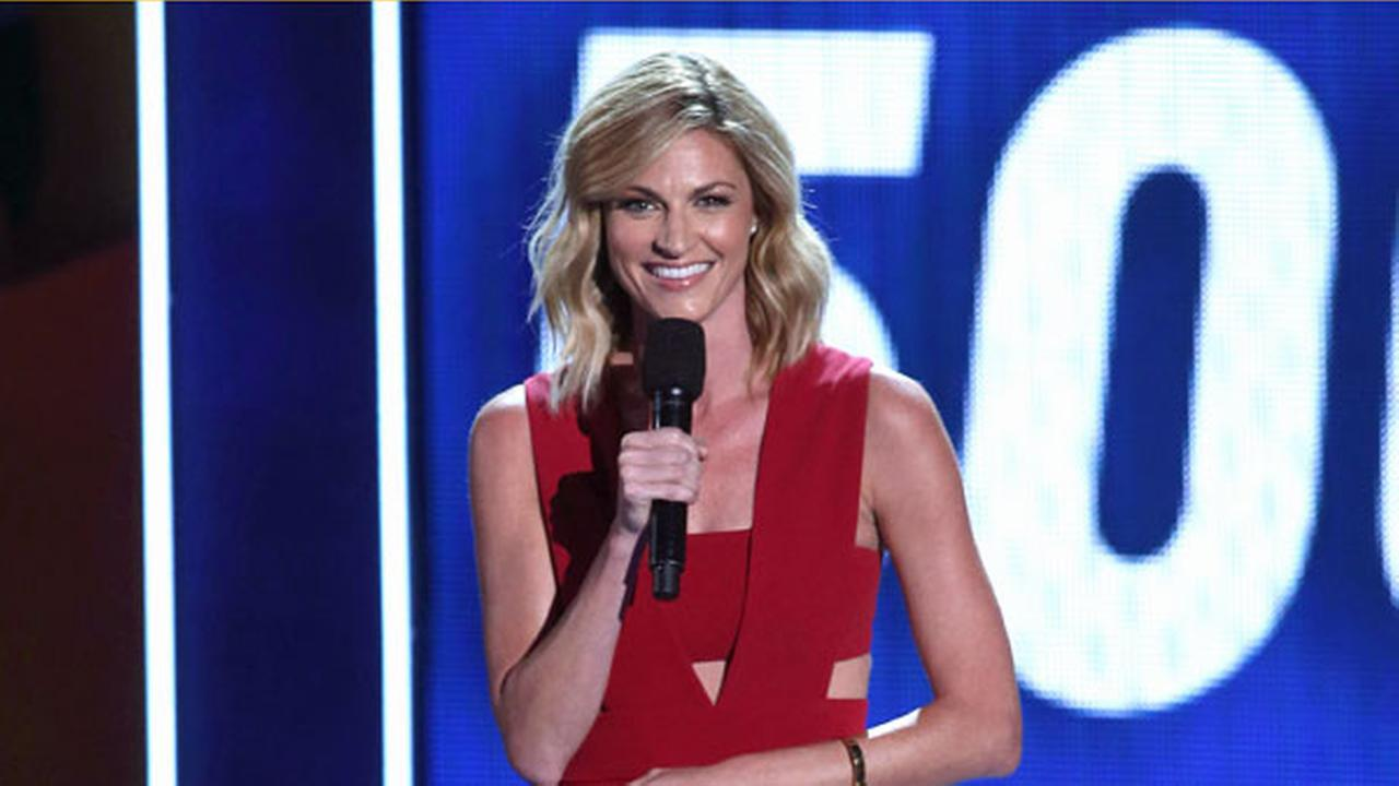 Erin Andrews speaks during the 2015 Kids Choice Sports Awards show at Pauley Pavilion on Thursday, July 16, 2015 in Los Angeles.