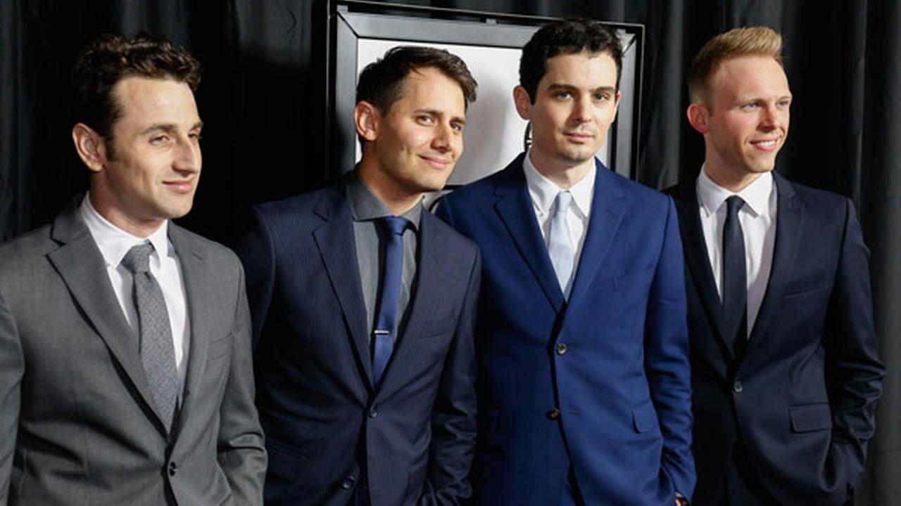 Justin Hurwitz, from left, Benj Pasek, Damien Chazelle, and Justin Paul arrive at the 42nd Annual Los Angeles Film Critics Association Awards on Saturday, Jan. 14, 2017.