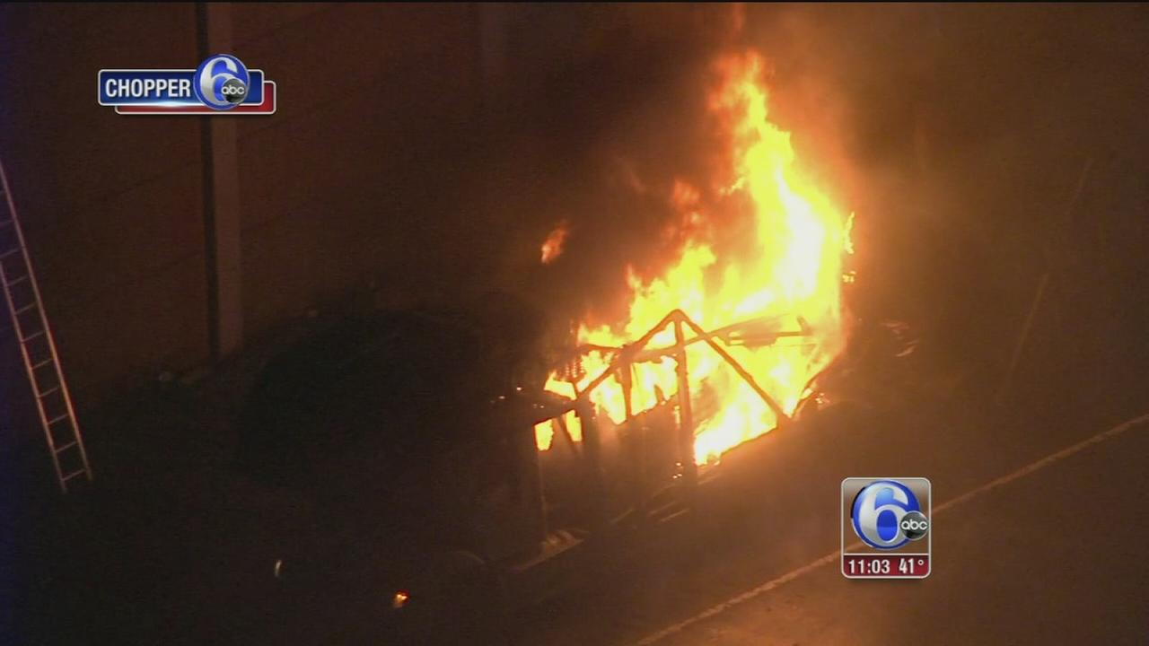 Truck carrying cars catches fire on NJ Turnpike