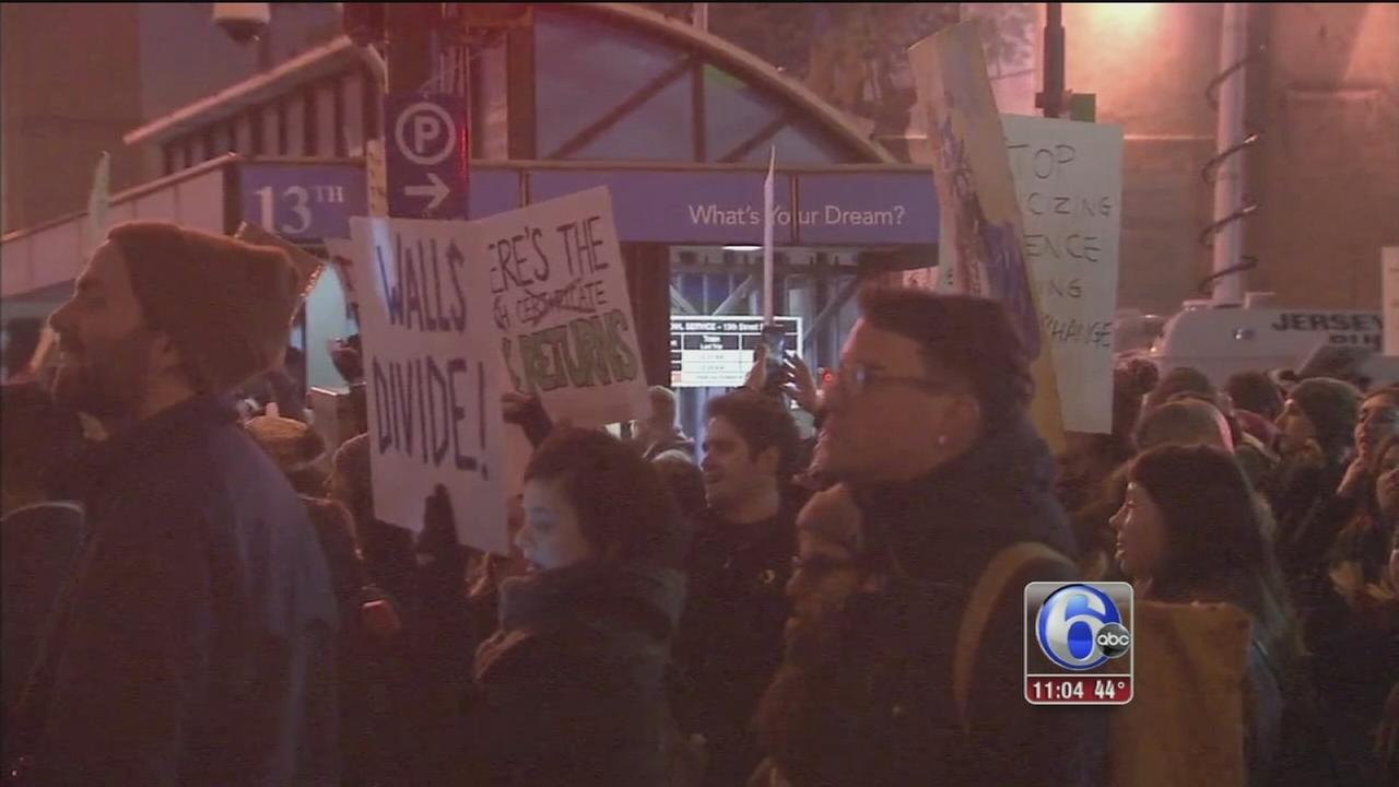 Marchers in Center City protest Donald Trumps visit