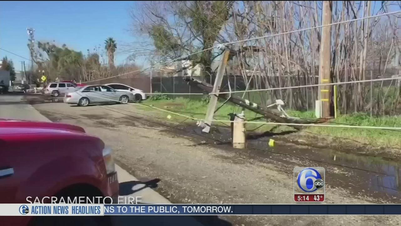 Poles topple mysteriously down California highway
