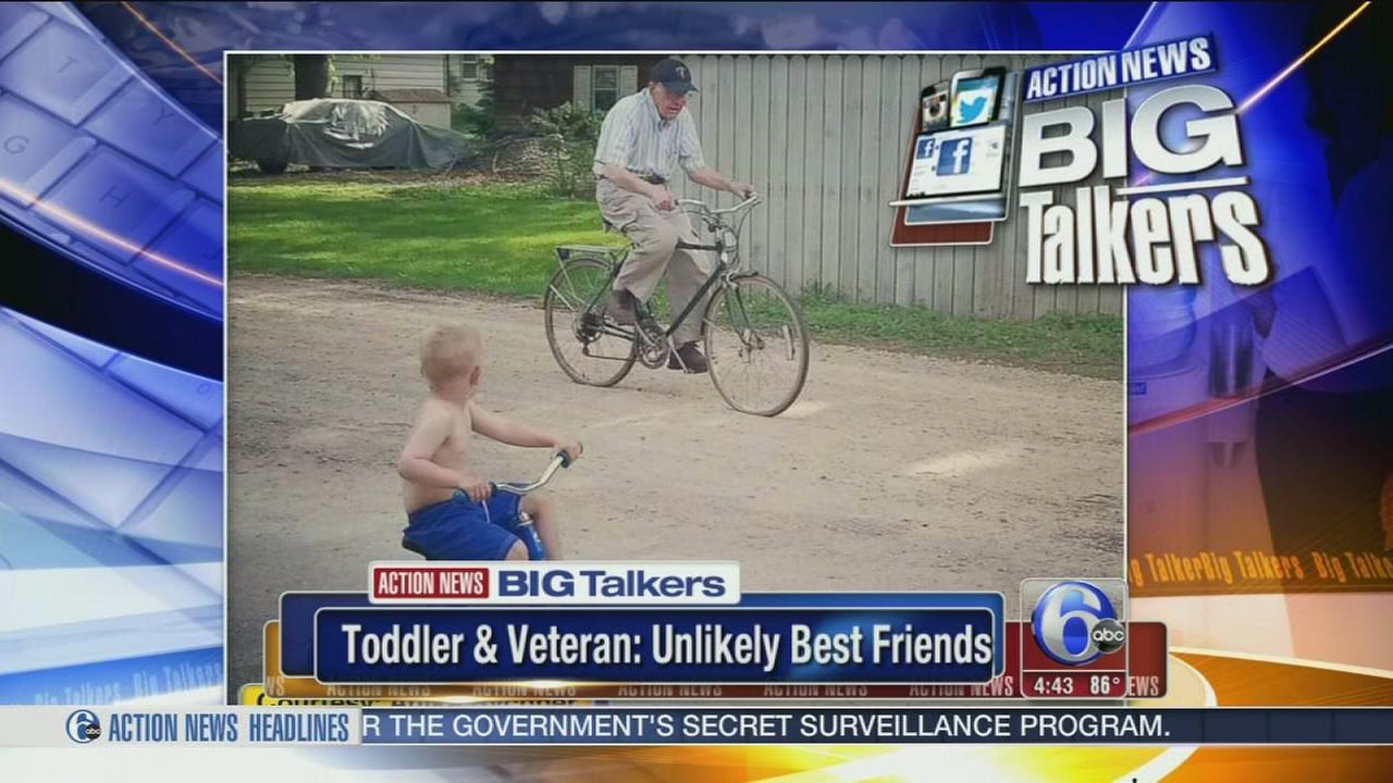 VIDEO: Toddler and veteran: Unlikely best friends