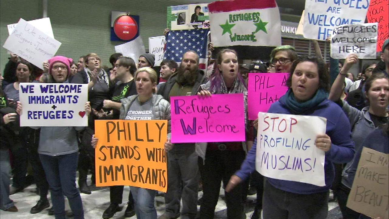Protesters at Philadelphia airport in response to President Trumps executive order placing temporary bans on entry into the U.S. of people from 7 Muslim-majority countries.