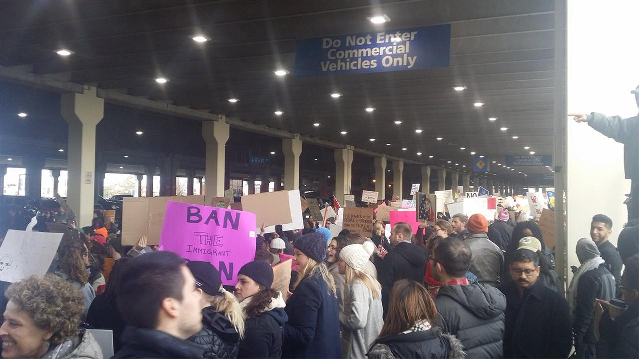 Protesters at Philadelphia airport in response to President Trumps executive order placing temporary bans on entry into the U.S. of people from 7 Muslim-majority countries.Thomas J. Nestel III