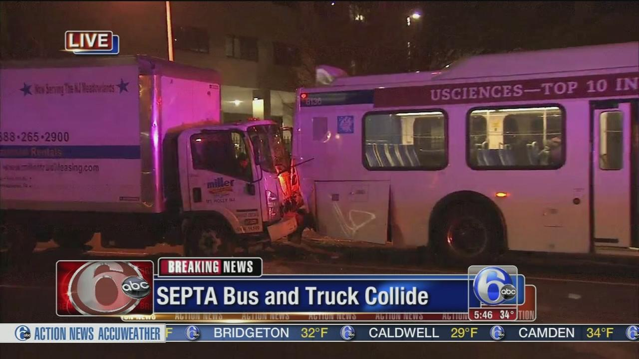 SEPTA bus and truck collide