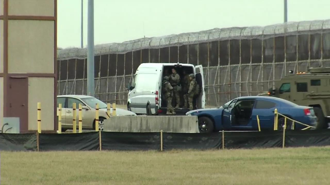 Armored vehicles and SWAT teams respond to the James T. Vaughn state correctional facility in Smyrna, Delaware, during a lockdown on Feb. 1, 2017.