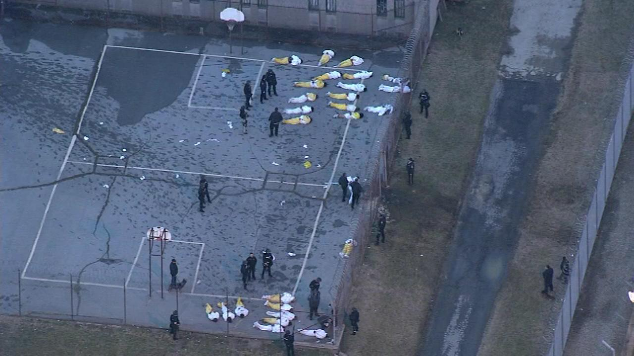 February 2, 2017: Chopper 6 HD was over the James T. Vaughn Correctional Center in Smyrna, Delaware shortly after state police stormed into Building C.