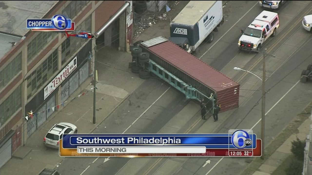 Overturned tractor trailer in SW Phila.