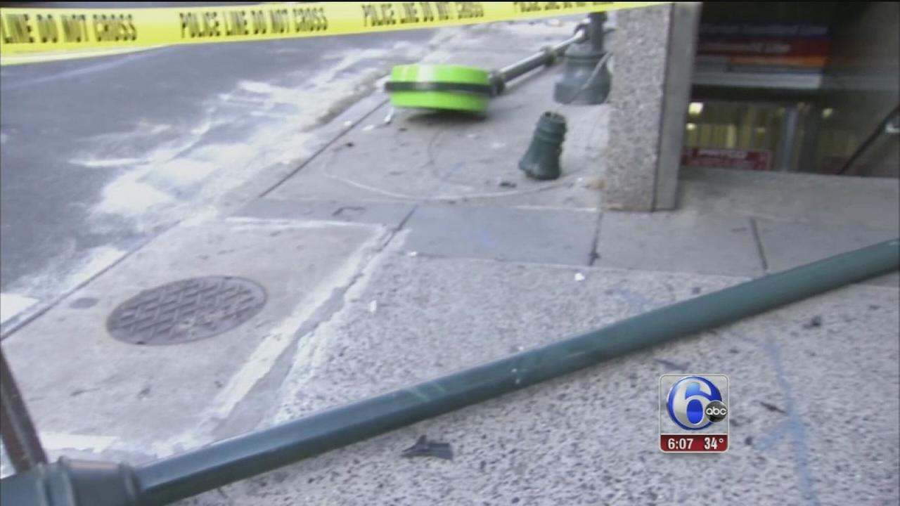 Police: Woman struck by pole during car crash in Center City